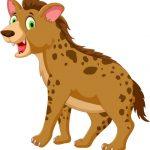 vector illustration of cute hyena cartoon posing look at camera