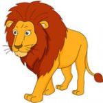 large male lion walking clipart
