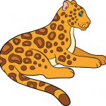 Cartoon animals for kids. Cute jaguar lays and smiles.
